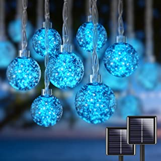 Blue Outdoor Solar String Lights Weatherproof 80 LED 33ft Globe Patio Lights Outdoor Waterproof Solar Powered Decorative f...