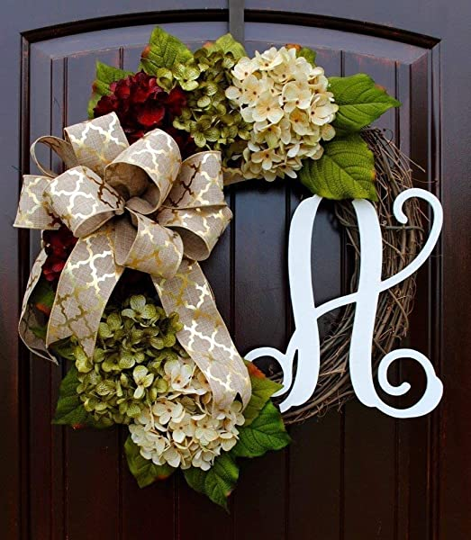 Hydrangea Monogram Initial Wreath With Bow Options And Cream Ruby Red And Moss Green Hydrangeas On Grapevine Base Farmhouse Style