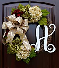 Hydrangea Monogram Initial Wreath with Bow Options and Cream, Ruby Red, and Moss Green Hydrangeas on Grapevine Base-Farmhouse Style
