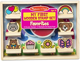 Melissa & Doug My First Wooden Stamp Set – Favorites (8 Stamps with Handles, 2 Washable Ink Pads), 31902