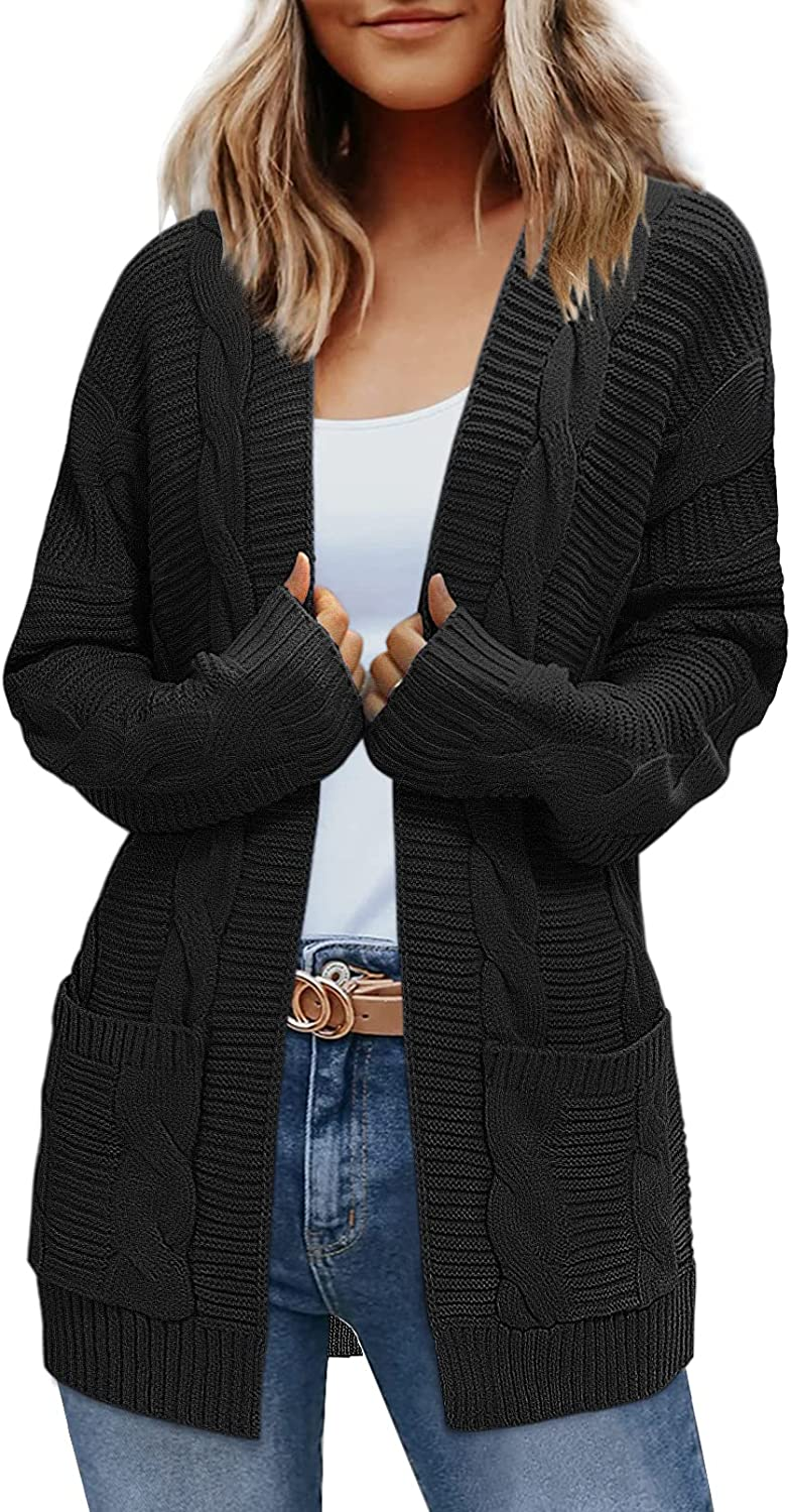 ZROZYL Womens Long Sleeve Open Front Cable Knit Cardigan Sweater Outwear with Pockets