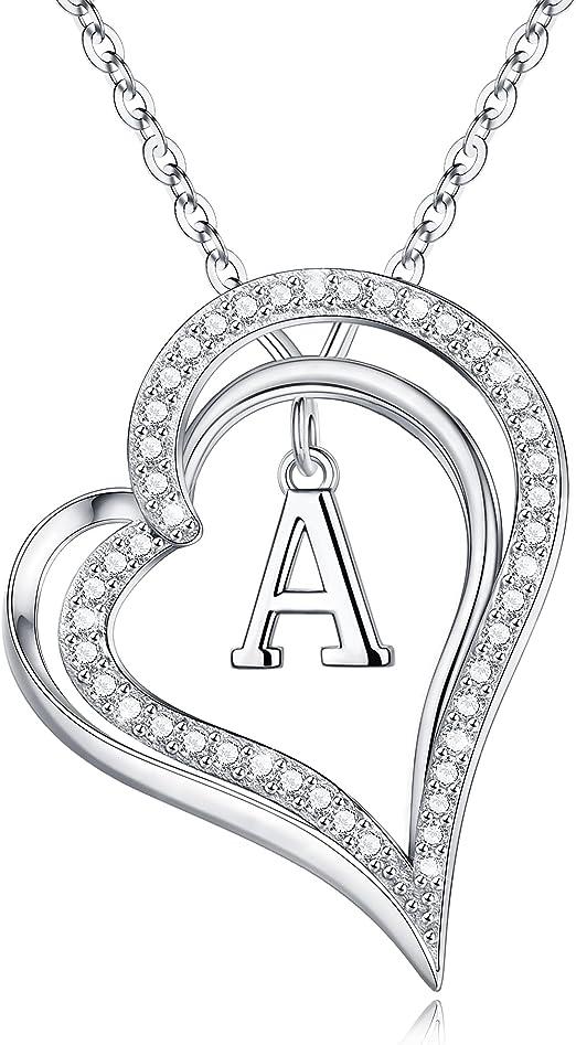 S925 Sterling Silver Love Heart Pendant for Women, AAAAA+ Cubic Zirconia Heart Pendant Letter Initial Necklace S925 Sterling Silver initial Necklaces for Women Girls Jewelry Gifts