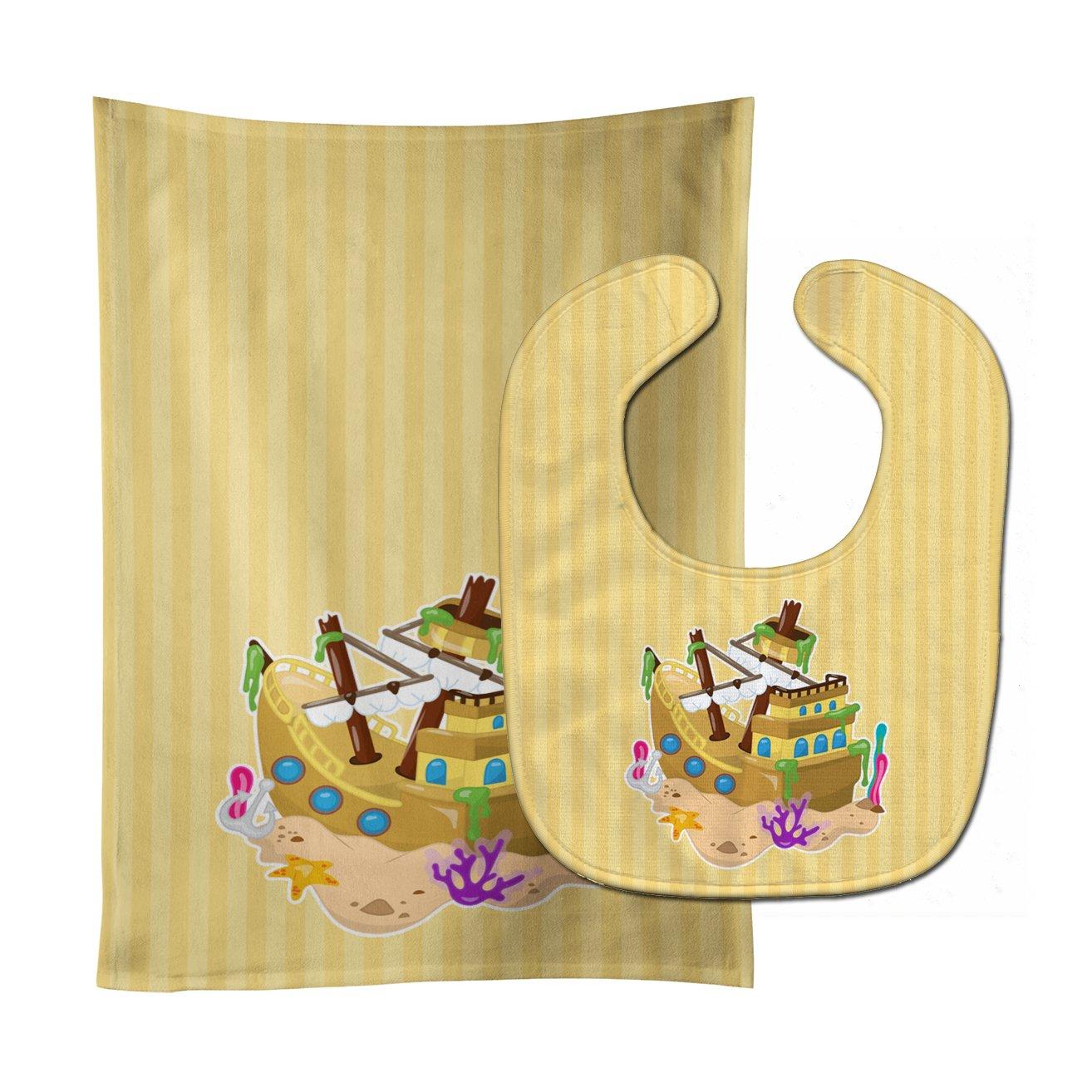 Caroline's Treasures BB8836STBU Beach sold out Pirate Baby Ship Translated Bib Bur