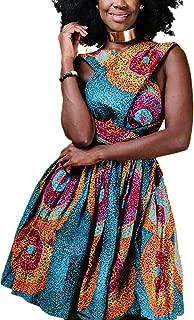 Women Deep V Neck Dress African Floral Vintage Swing Wrap Dress Belt