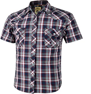 Coevals Club Men's Short Sleeve Casual Western Plaid Buttons Shirt