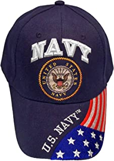 United States Navy Veteran Blue Baseball Style Embroidered Hat Ball Cap Vet USA Flag