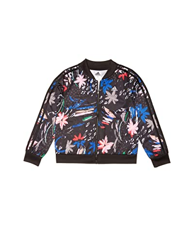 adidas Kids Print Tricot Jacket (Big Kids) (Black/Pink) Girl