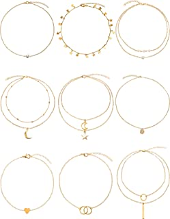 9 Pieces Gold Layering Chain Choker Necklace Layered Pendant Statement Necklace for Women Girls