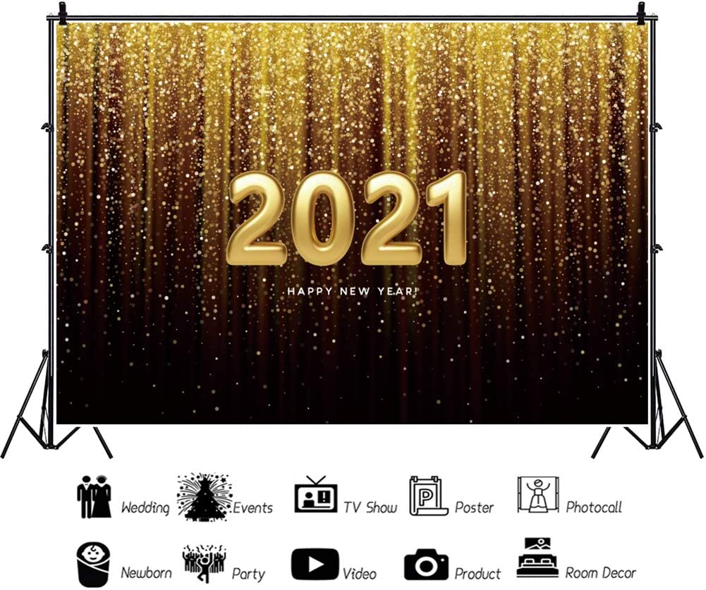 Baocicco 5x3ft Happy New Year 2021 Backdrop Gradient Ramp Champagne Golden Curtain Drapes Tassel Gold 2021 Photography Background Wallpaper for New Year Celebration Beginning of New Year Photo Prop