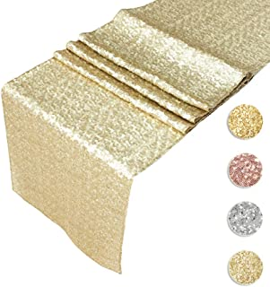 Sequin Table Runners CHAMPAGNE GOLD- 12 X 108 Inch Glitter CHAMPAGNE GOLD Table Runner-CHAMPAGNE GOLD Party Supplies Fabric Decorations For Wedding Birthday Baby Shower