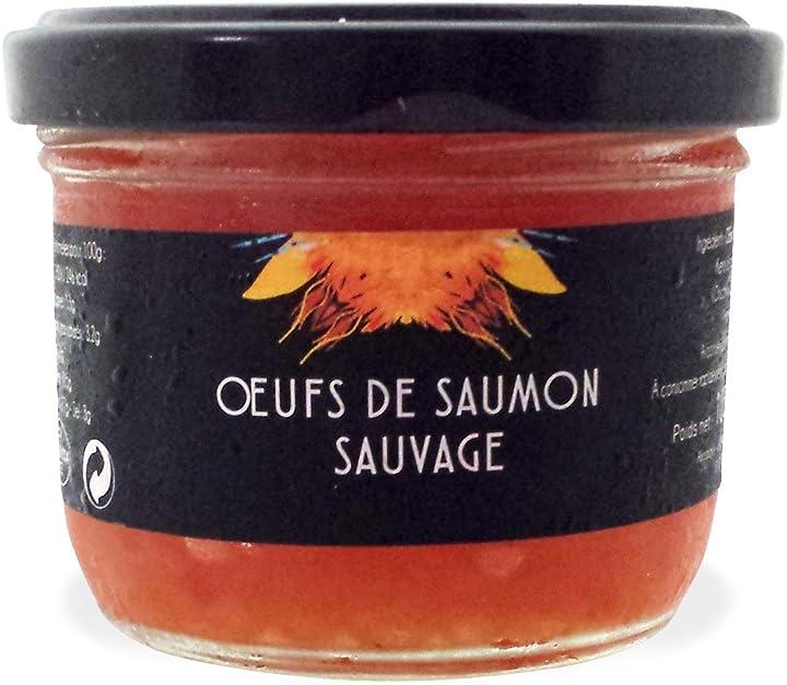 Caviale rosso ricco di omega 3 (uova di salmone selvaggio), 100 gr - astara paris B071GP1LLG