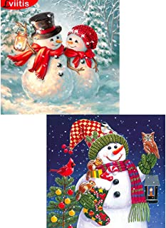 2 Pack DIY 5D Diamond Painting Kits for Adults Full Drill, Paintings Pictures Arts Craft for Home Wall Decor 35x35cm(snowman)