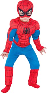 Party City Classic Spider-Man Muscle Halloween Costume for Toddler Boys, Includes Headpiece