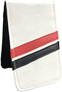 Sunfish Leather Golf Scorecard and Yardage Book Holder White with Red and Black