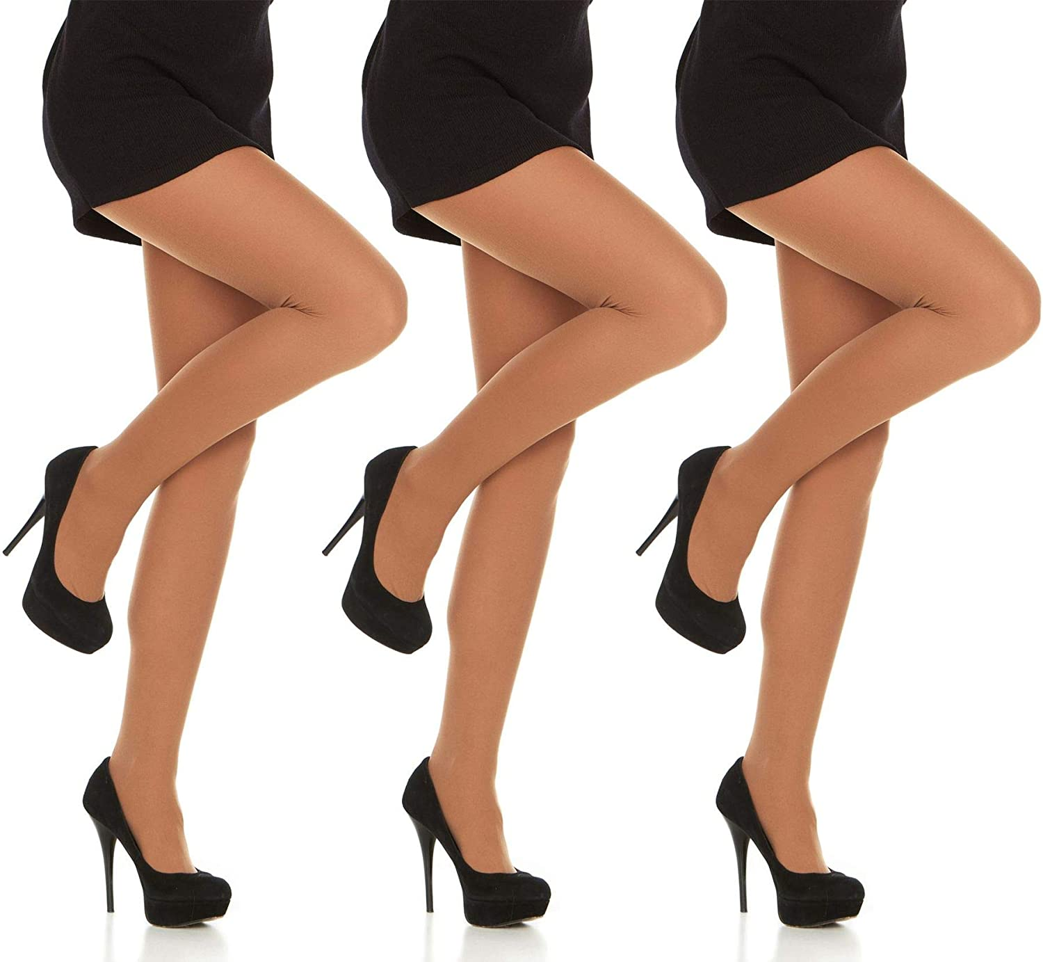 Daresay Opaque Microfibre Tights for Women - Ladies Stretch Pantyhose 70Den - Standard and Queen size - 3 Pack