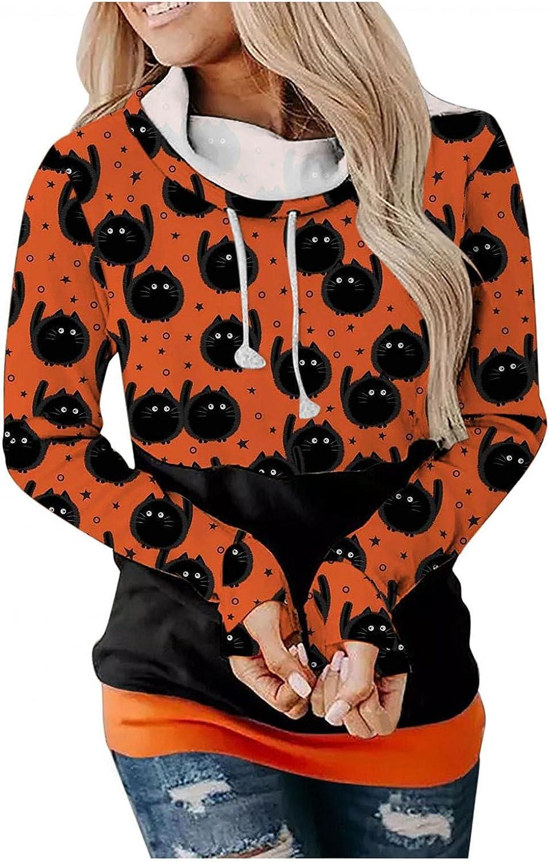 UOCUFY Halloween Hoodies for Women, Womens Lightweight Long Sleeve Shirts Loose Pullover Hoodies Crewneck Sweatshirts