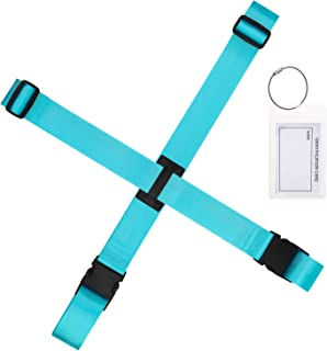 Gonex Luggage Strap Luggage Tag Holder Travel Set, Adjustable Suitcase Belt, ID Card Holder for Women Men, Blue 1 Set