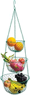 Fox Run Green 3-Tier Kitchen Hanging Fruit Baskets, 32 Inches