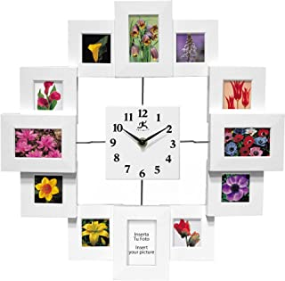 Infinity Instruments 15.75 inch Modern Wall Clock with Picture Frames Time Capsule