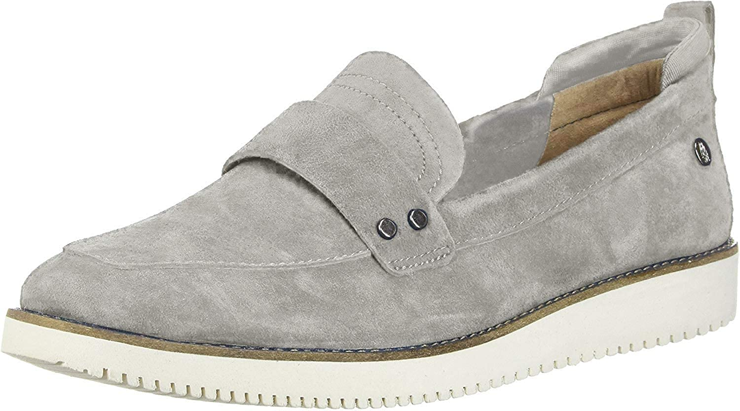 Hush Puppies Womens Chowchow Loafer Frost Grey Suede 6 W (D)