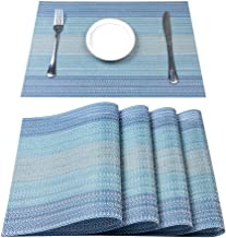 Pauwer PVC Placemats Set of 8 Washable Woven Vinyl Placemat for Dining Table Heat Resistant Non-Slip Kitchen Table Place M...