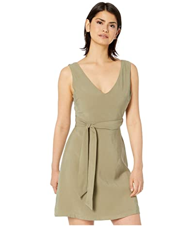 American Rose Grecia Sleeveless Dress with Waist Tie (Olive) Women