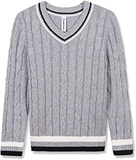 BOBOYOYO Boys Uniform V-Neck Sweater Long Sleeve V Neck Cotton Christmas Sweater for 3-12Y
