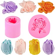 2 Pieces 3D Rose Flower Candle Mold Rose Shaped Cake Mold Silicone Fondant Chocolate Mould Resin Flower Mold for Baking De...