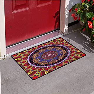 RelaxBear Mandala Inlet Outdoor Door mat Vintage Style Wedding Invitation Card with Mandala Motif Flower Illustration Catch dust Snow and mud W23.6 x L35.4 Inch Maroon and Red
