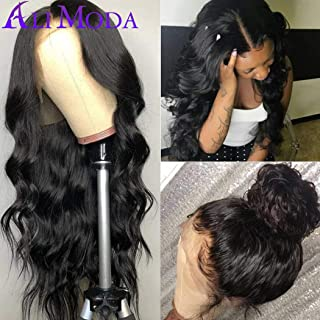 Ali Moda 360 Body Wave Lace Front Wig 130% Density Malaysian Pre Plucked With Baby Hair Bleached Knots Cap Wigs Human Virgin Hair Nature Hairline 12 inch