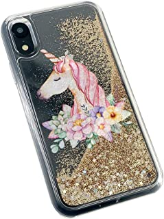 uCOLOR Gold Glitter Case Compatible iPhone XR Unicorn Floral Waterfall Liquid Sparkling Quicksand Clear Protective Case Compatible iPhone XR(6.1
