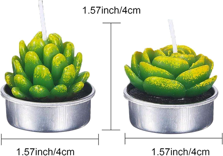 Prom-note 12 Pezzi Candele di Cactus Candele Tealight Fatto A Mano Delicato Succulento Verdi Candele di Cactus Fiore Rosa per Festa Matrimonio Spa Casa Decorazione Regali