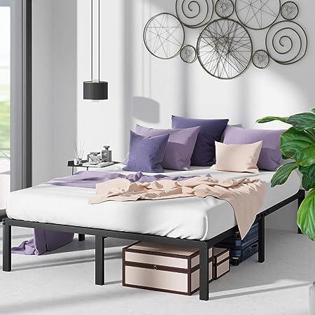 Zinus - Marco de cama con plataforma de metal de 40.6 cm con soporte de láminas de acero / base de colchón