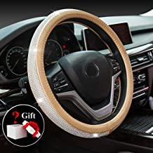 ChuLian Bling Diamond Car Steering Wheel Cover with Crystal Rhinestones Universal 15 Inch for CRV Accord Camry Escape Fusion X1 X3 X5 (Gold)