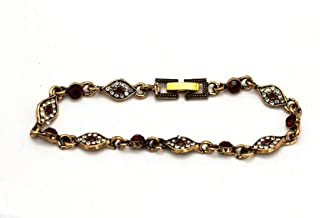 Red and White Crystals with Metal Ancient Gold Chain Bracelets for Women