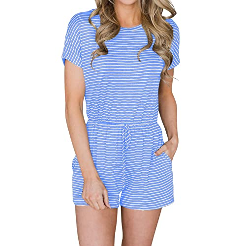 33249d6381e5 MIHOLL Women s Summer Striped Jumpsuit Casual Loose Short Sleeve Jumpsuit  Rompers