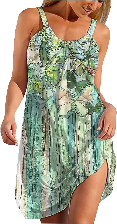 ONHUON Summer Dresses for Women 2021,Women Sleeveless Dresses Hawaiian Boho Beach T Shirt Short Mini Dresses Sundress
