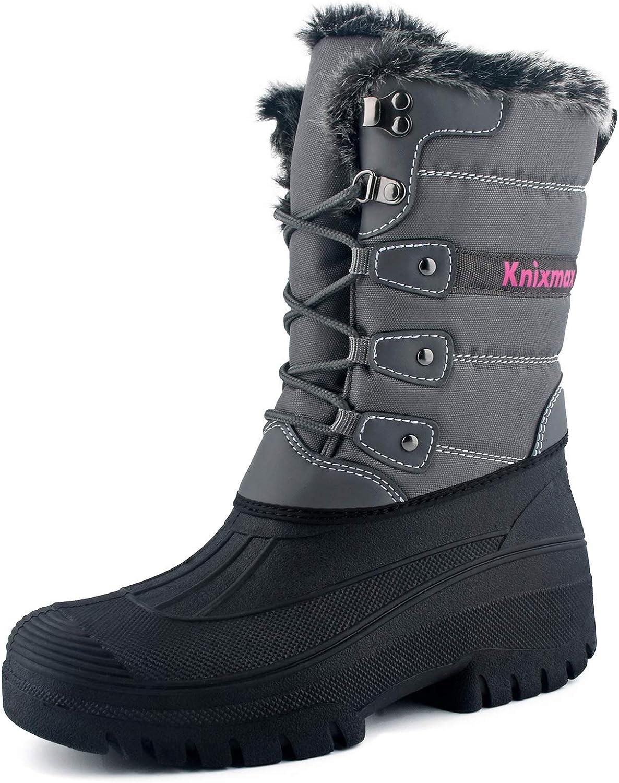 Knixmax Women's Winter Snow Boots Waterproof Mid Calf Booties Fur Lined Warm Outdoor Hiking Walking Boots