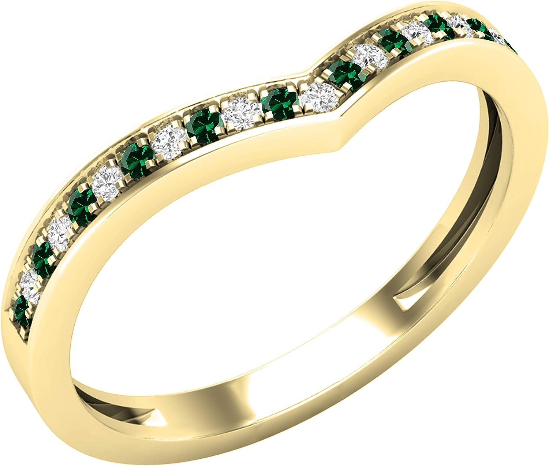 Dazzlingrock Collection Round Lab Created Gemstone & Natural White Diamond Ladies Bridal Chevron Anniversary Wedding Band, 10K Yellow Gold