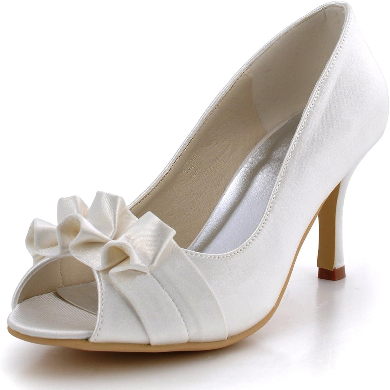 Minitoo GYMZ710 Womens High Heel Satin Evening Party Prom Bridal Wedding shoes Pumps Sandals Flatfs