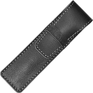 DiLoro Full Grain Top Quality Thick Buffalo Italian Leather Single Pen Case Holder Pouch Black