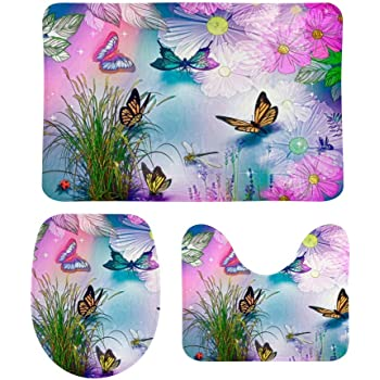 NiYoung Fashion Butterfly Colorful Monarch Butterflies Skidproof Toilet Seat U Shape Cover Bath Mat Lid Cover 3 Piece Non Slip Bath Rug Mats Sets for Shower SPA