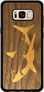 Wooden Phone Case (Bamboo Shark in Black Walnut Ocean) Compatible with Galaxy S8 Plus, Samsung Galaxy S8 Plus