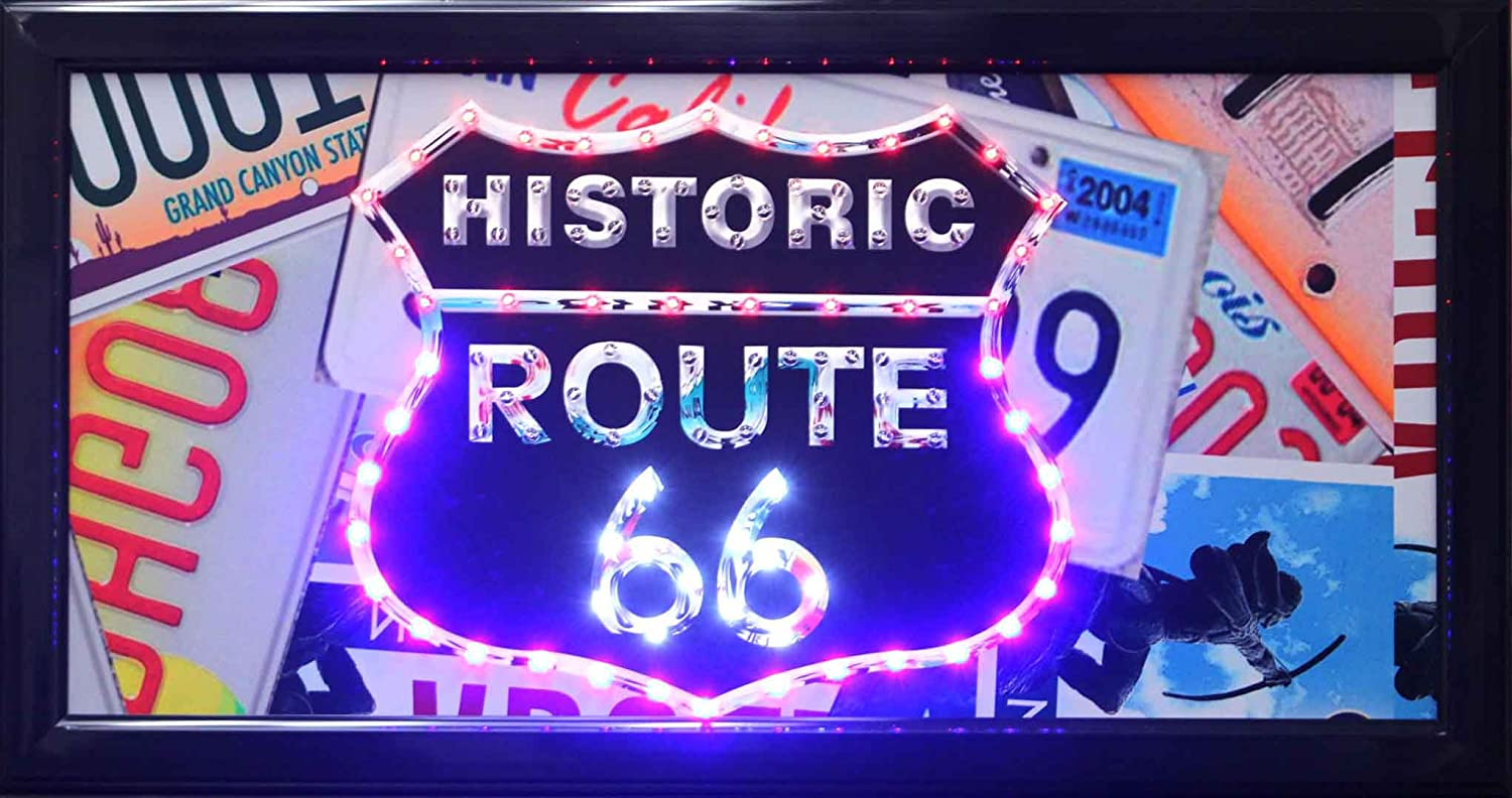 American Art Decor Historic Route 66 fo LED Max 77% OFF Outlet ☆ Free Shipping Up Light Framed Sign