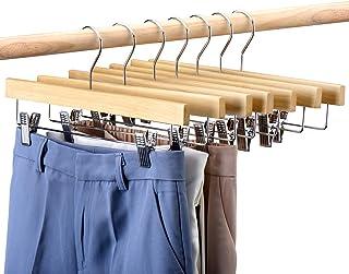 HOUSE DAY Lot de 25 Cintre Pantalon en Bois avec Pinces Chrome Ajustables, Crochet Pivotant à 360 Degrés Cintres Antidérap...