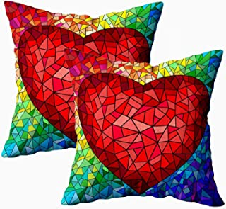 ROOLAYS Decorative Throw Square Pillow Case Cover 18X18Inch, Cotton Cushion Covers in Stained Glass Style Red Heart The Both Sides Printing Invisible Zipper Home Sofa Decor Sets 2 PCS Pillowcase