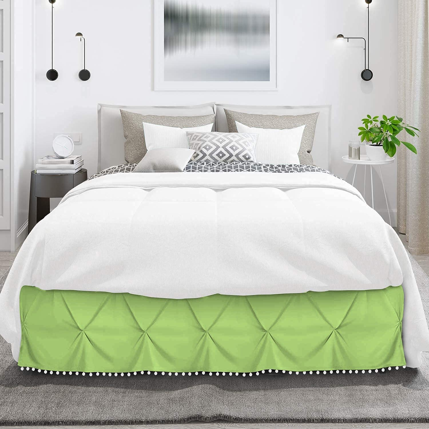 International Sheets Pom Pinch Pleated Max 74% OFF Ranking integrated 1st place 100% Egyptia BedSkirt