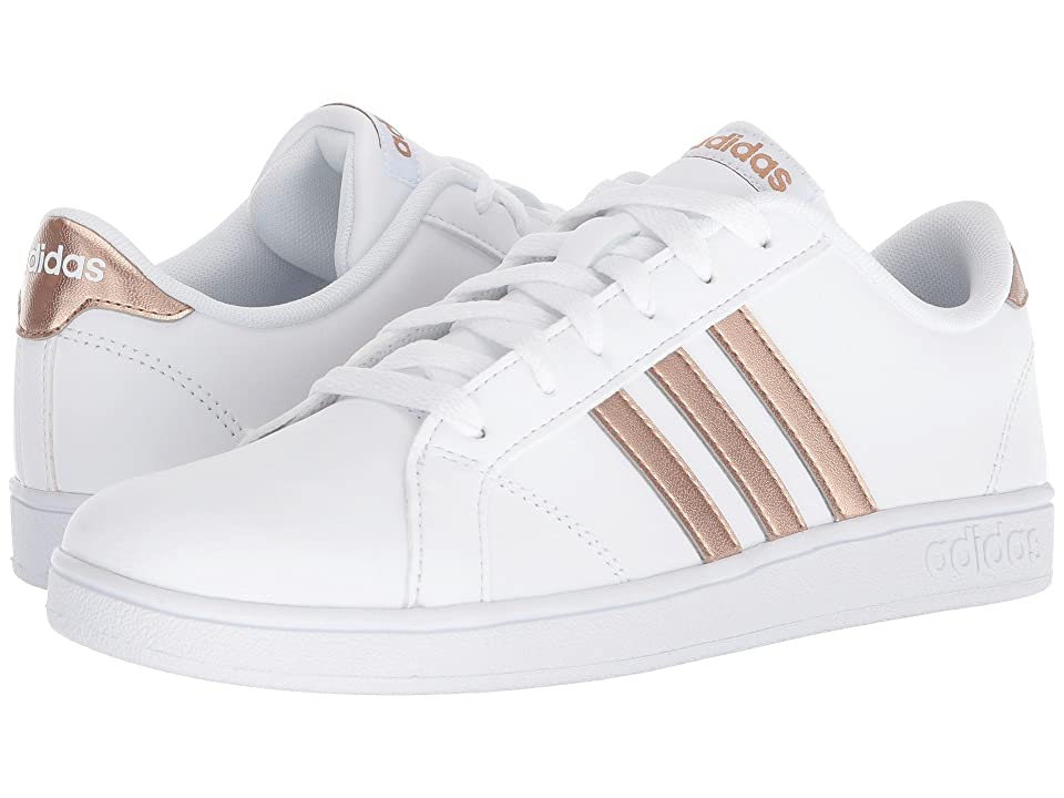adidas Kids Baseline (Little Kid/Big Kid) (White/Copper Metallic/Black) Kids Shoes