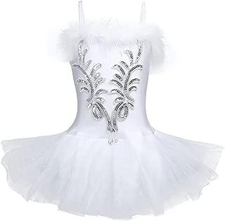 TiaoBug Girl Sequined Beads Fairy Ballerina Swan Costume Ballet Dance Leotard Spaghtetti Tutu Dress with Gloves Hair Clip Set