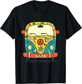 Vintage Hippie Van Flower Bus With Peace Sign Gift 60s 70s T-Shirt